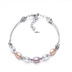 Pulsera semirrígida de perlas auténticas en tonos champagne y plata 925