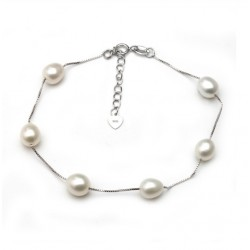 Natural Freshwater Adjustable Pearl Bracelet with Silver Chain