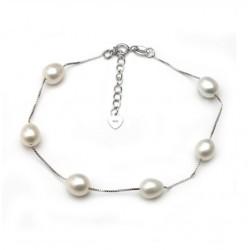 Pulsera de cuentas con perlas naturales de agua dulce y plata 925