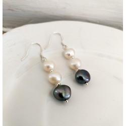 Pendientes en plata 925 con perlas de agua dulce en tonos blancos y gris