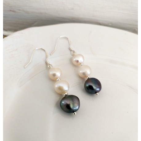 Natural White and Grey Freshwater Pearl Earrings with Silver 925