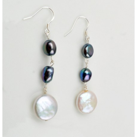 Natural Freshwater Coin Pearl Earrings with Silver