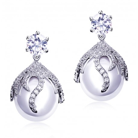 Big White Pearl Earrings with Cubic Zirconia Crystals