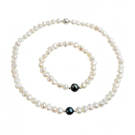 Real Freshwater Pearl Jewelry set with White Pearls and One Black Pearl