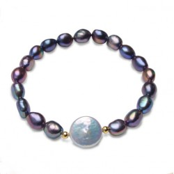 Black Natural Freshwater Pearl Bracelets with White Coin Pearl