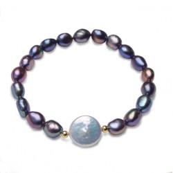 Pulsera con perlas negras y perla blanco