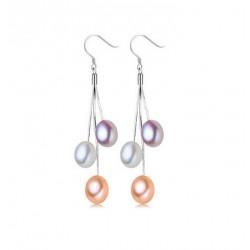 Pendientes de Plata 925 con perlas naturales en cascada