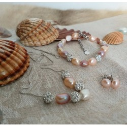 Natural Freshwater Pearl Necklace, Bracelet and Earrings Set with Shambala Beads