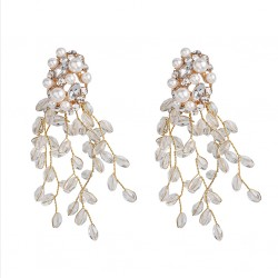 Geometric Drop Earrings with crystals and Pearls