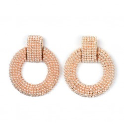 Maxi Earrings Round Circle with Small Pearls