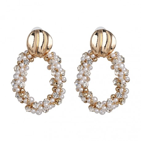 Big Geometric Oval Earrings with Pearls and Crystals