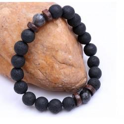 Pulsera unisex elástica de hombre con esferas de roca volcánica y Piedra de Luna