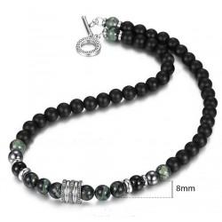 Collar unisex con piedras naturales de lava, Jade y hematita