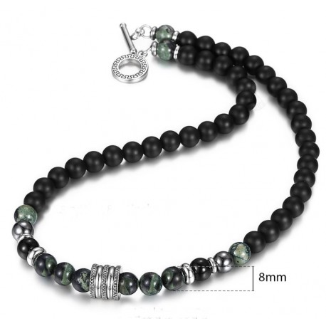 Natural Stone Beads Necklace for Men With Lava Stone, Jade and Hematite