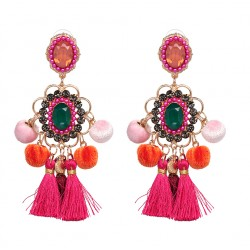Maxi XXL Hairball Fringed Bohemian Earrings