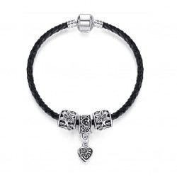 Leather Bracelet with Tibetan Silver charms