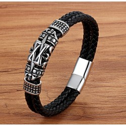 Genuine Leather Bracelet with Stainless Steel Details