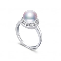 Natural Freshwater Pearl With Zircon and 925 Sterling Silver