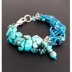 Natural Turquoise Bracelet with Blue Crystal Beads