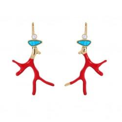 Imitation Coral and Pearl Boho Earrings