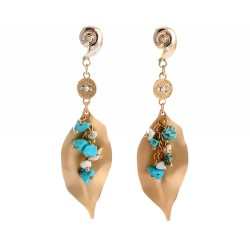 Bohemian Irregular Turquoises Earrings with Golden Leaf