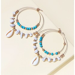 Double-layers Golden Rings Drop Earrings with Natural Stones