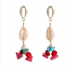 Ethnic Style Earrings with Natural Seashell and Stone Beads