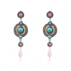 Ethnic Jewelry Earrings with Turquise and pink Stone