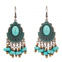 Vintage Bronze Drop Earrings with Natural Turquoise Stone