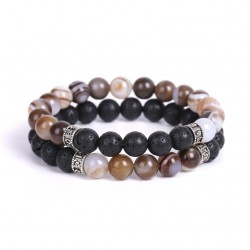 Set of 2 Bracelets for Men with Lava Stone and Natural Agate