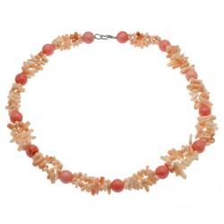 Collar de coral rosa auténtico pulido en forma de esferas
