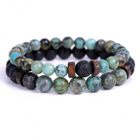 Bracelet Set with Lava Stone and Natural Turquoise