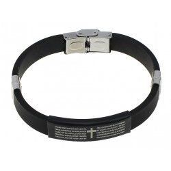 Stainless Steel Silicone Bracelet for Men with Bible Text in Spanish