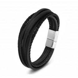 Black Genuine Leather Multilayer Bracelet for Men