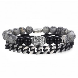 Men Bracelet Set with Natural Stones, Leather and Stainless Steel