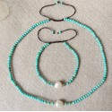 Small Round Turquoise Beads Choker Necklace with White Baroque Pearl