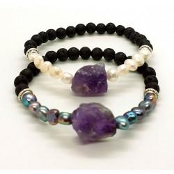 Pulsera de esferas de piedras de lava, perlas y amatista en bruto