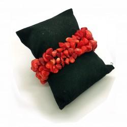 Pulsera elástica artesanal de Coral Rojo natural