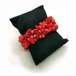 Red Coral Chips Gemstone Bracelet