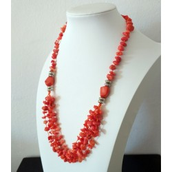Natural Orange Coral Beads Handmade Necklace