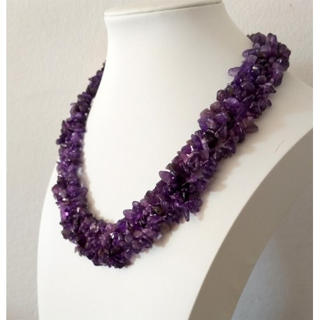 Natural Purple Amethyst Chip Beads Necklace