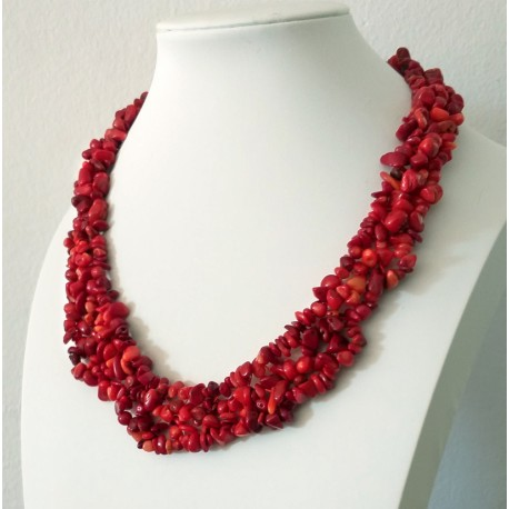 Natural Red Coral Chip Beads Handmade Necklace