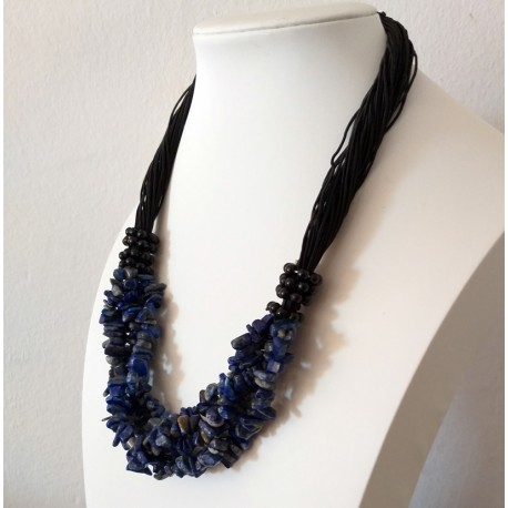 Sodalite Natural Stone Chip Beads Nylon Line Necklace