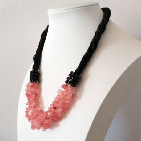 Cuarzo rosa Cherry Natural Stone Chip Beads Nylon Line Necklace