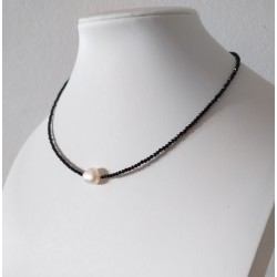 Minimalist Style Black Faceted Obsidian Necklace with Baroque Pearl