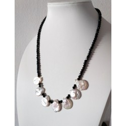 Faceted Clack Onyx Stone Necklace with White Coin Pearls