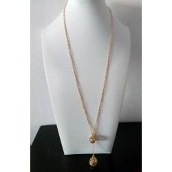 Long Necklace with Two Ball Pendants