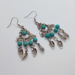 Ethnic Jewelry Earrings with Turquoises and Tibet silver leaves