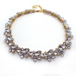 Vintage Metal Statement Necklace With Crystals