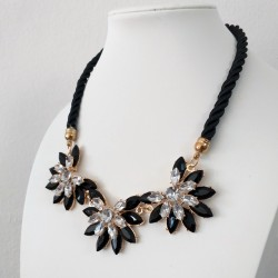 Black Rope Necklace with Geometric Flowers